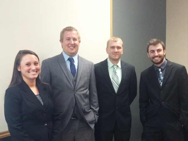 University of Dayton students (L to R) Kaleigh Dianetti, Jordan Verst, Trevor Wright, and Justin Miles