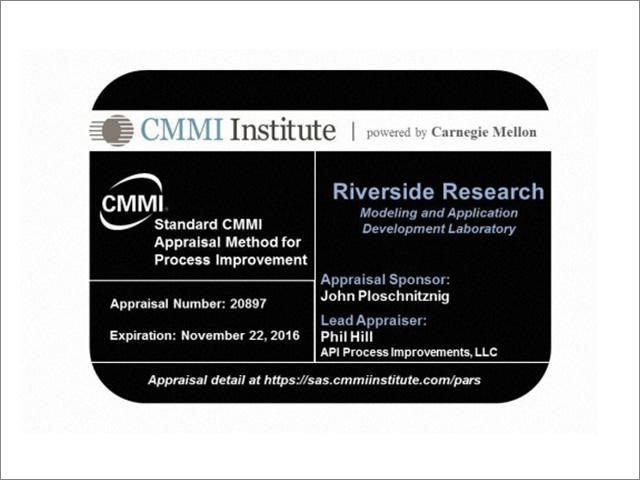 Riverside Research MAD Lab Achieves CMMI Level 3 Rating